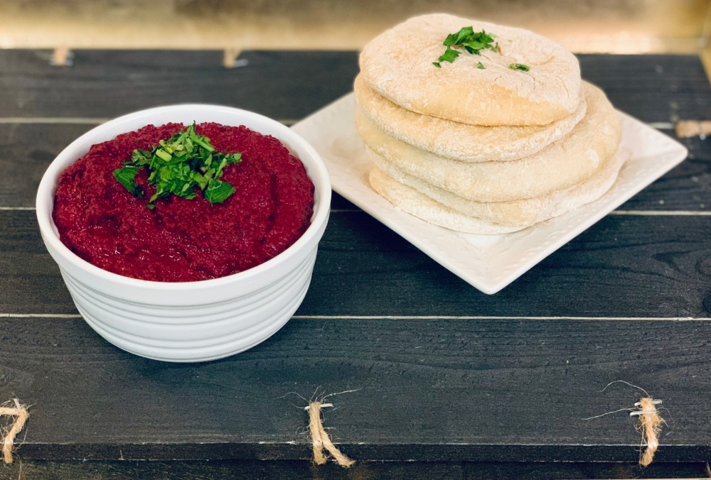 Beet Hummus and Homemade Pita