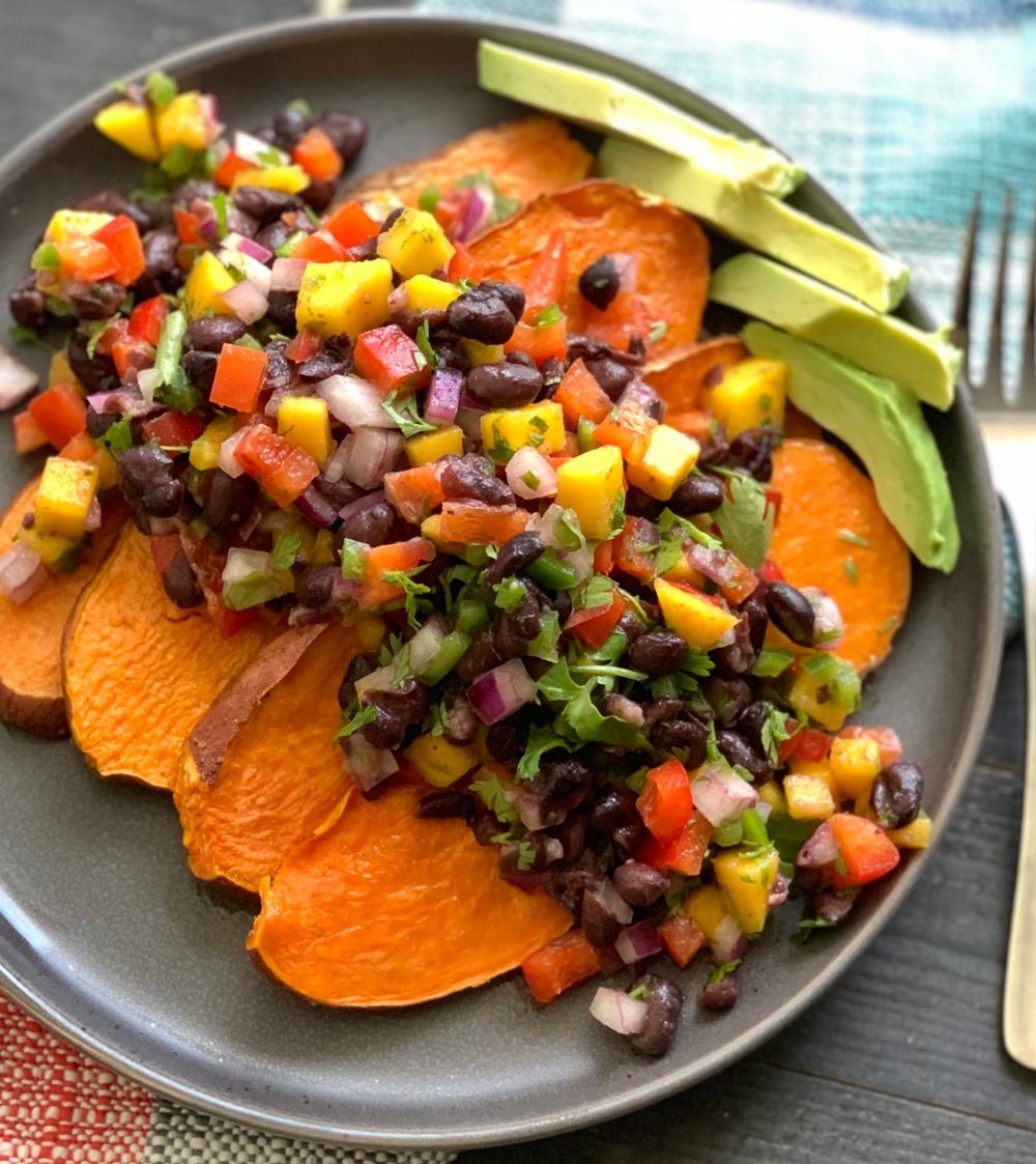 Sweet Potato Skins with Black Bean Mango Salsa